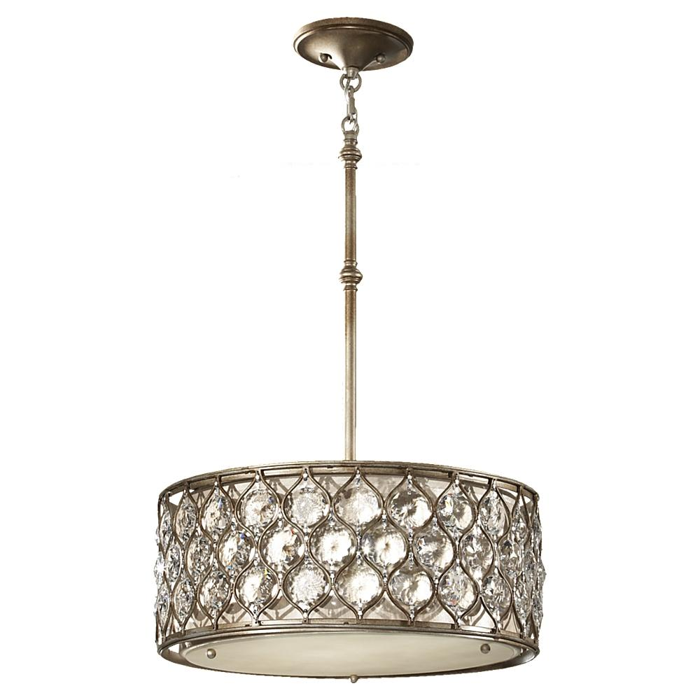 three light burnished silver beige fabric shade drum shade pendant
